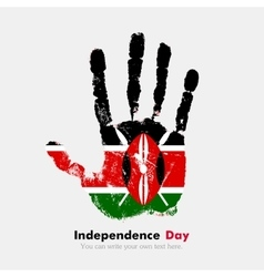 Handprint with the Flag of Kenya in grunge style vector