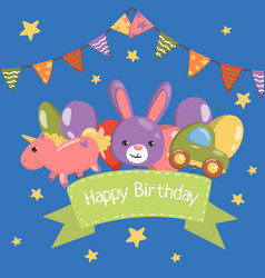 happy birthday banner birthday party card with vector image