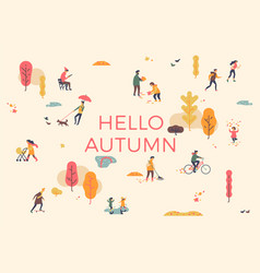 hello autumn banner poster or card template vector image