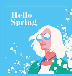 Hello spring romantic banner or flyer vector
