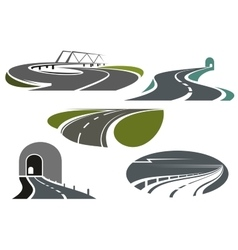 Highway roads tunnels and bridge icons vector image