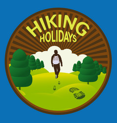hiking in the wild nature vector image