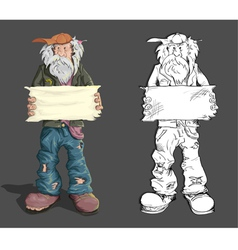 Homeless man with sign vector