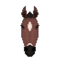 Horse head in pixel art style vector