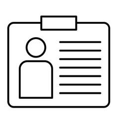 Identification card thin line icon badge vector