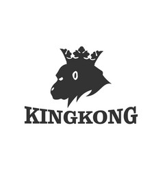 Kingkong with crown logo head silhouette vector