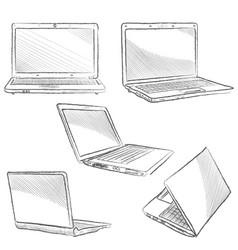 laptop set computer hand drawn sketch doodle vector image