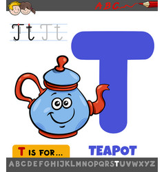 Letter t educational worksheet with cartoon teapot vector