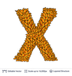 Letter x sign of autumn leaves vector