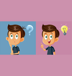 Little boy having a question finding the answer vector