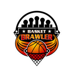 logo basketball sport emblem vector image