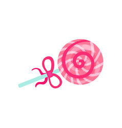 lollipop with pink and white stripes summer time vector image