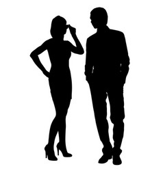 man and woman look at each other silhouette vector image