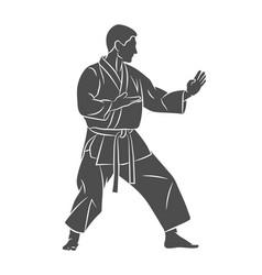 man in kimono training karate on a white vector image