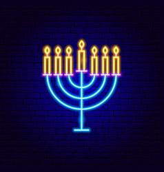 menorah neon sign vector image