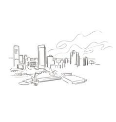 Milwaukee wisconsin usa america sketch city line vector