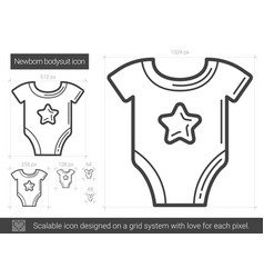 Newborn bodysuit line icon vector
