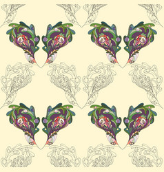 oak leaves hand drawn seamless pattern abstract vector image