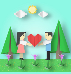 Paper origami for valentines day vector