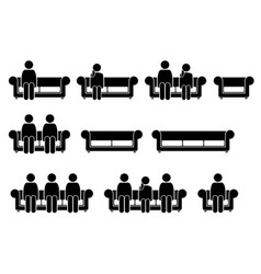 people sitting on chair sofa pictograph depicts vector image