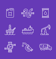 petroleum industry oil and gas production icons vector image