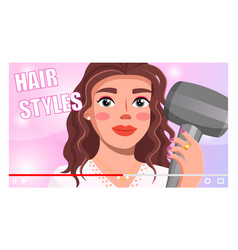 pretty woman holding hairdryer telling about vector image