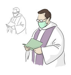 Priest or pastor with surgical mask and glasses vector