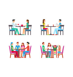 pub and coffeehouse with clients eating lunch vector image