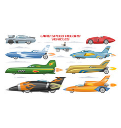 Record speed car landspeed automobile and vector