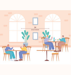 Restaurant social distancing table distance to vector