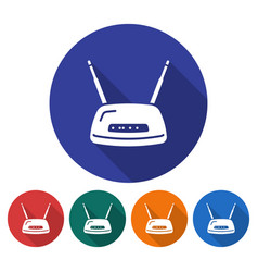 round icon of wireless fidelity router flat style vector image