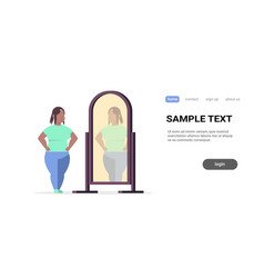 Sad overweight woman looking at herself reflection vector