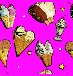 Seamless pattern ice creame tasty vector