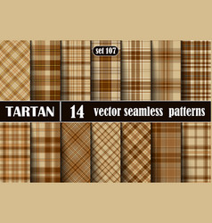 Set beige tartan seamless pattern vector