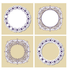 set color oriental flower mandala vector image