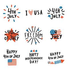 set fourth july badges vector image