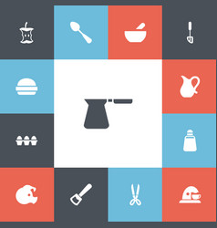 set of 13 editable cooking icons includes symbols vector image