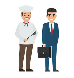 Set of chef food and manager smiling persons vector