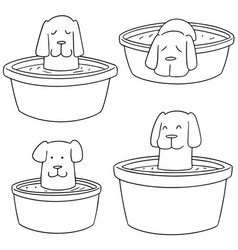 Set of dog bath vector