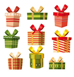 set of gift boxes cartoon style banner vector image
