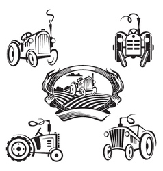 Set of tractors vector