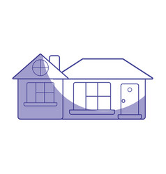 Silhouette big house with roof and windows with vector