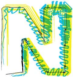 Sketch font Letter N vector image