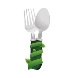 Spoon leaf green vegan organic icon vector