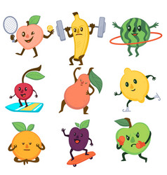 Sportive fruits active lifestyle vegetables vector