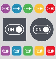 start icon sign A set of 12 colored buttons Flat vector image