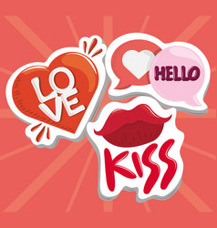 stickers love lips heart romantic and cute design vector image