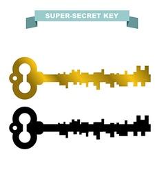 Super secret key old vintage retro key lock key vector