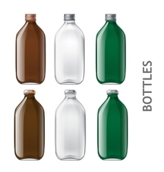 Template of glass bottles vector