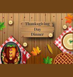 Thanksgiving dinner background with turkey and vector